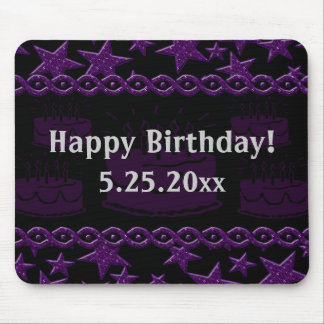 Birthday Cake Rock Star In Purple Happy Birthday Mouse Pad