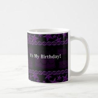 Birthday Cake Rock Star In Purple Basic White Mug