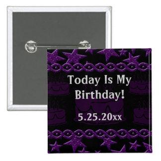 Birthday Cake Rock Star In Purple My Birthday Pinback Buttons
