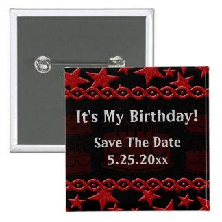 Birthday Cake Rock Star In Red My Birthday Pin