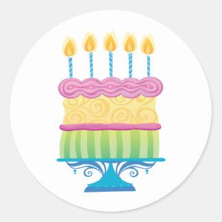 Birthday Cake Round Stickers
