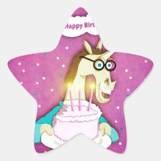 Birthday Cake Unicorn Star Sticker