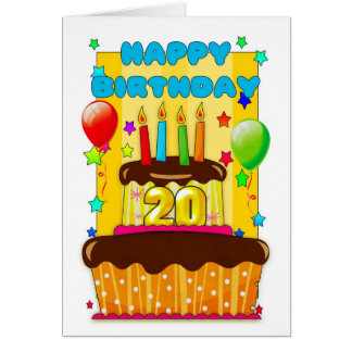 birthday cake with candles - happy 20th birthday card