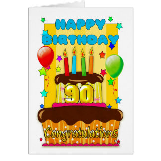 birthday cake with candles - happy 90th birthday card