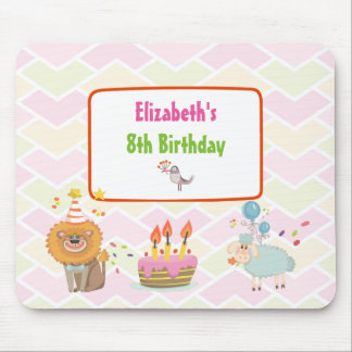 Birthday Cake with Party Lion and Balloon Sheep Mouse Pad