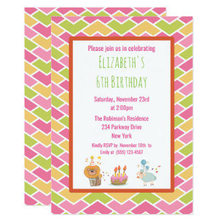 Birthday Cake with Party Lion and Sheep Invite
