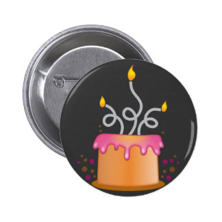 Birthday cake with twirly curly candles 2 inch round button