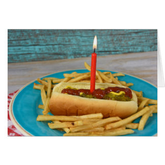 birthday candle in hot dog with french fries card