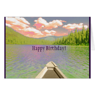 "Birthday Card Canoe on Lake ""Fun Adventures"""