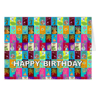 Birthday Card Colorful Floral Mosaic