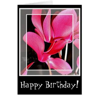 Birthday card Cyclamen flowers in pink