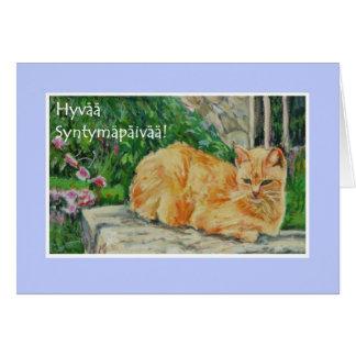 Birthday Card, Finnish Greeting, Ginger Cat Card