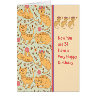 Birthday Card for 3 Year Old with Cute Cats