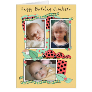 Birthday card for a little girl or boy Ladybirds
