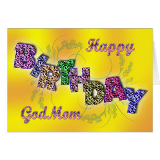 Birthday card for god mom with floral text