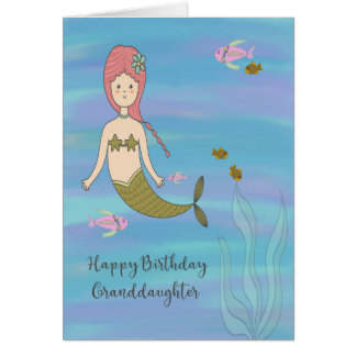 Birthday Card for Granddaughter with Mermaid