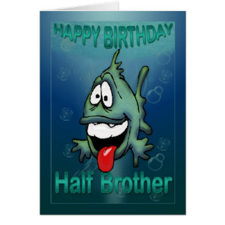 Birthday card for half brother, funky fish