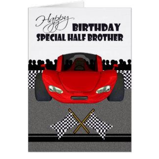 Birthday card for half brother, racing car