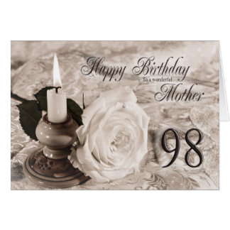 Birthday card for mother, 98. The candle and rose