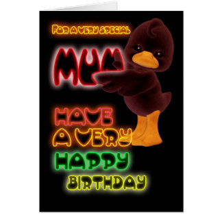 Birthday Card for mum, Neon with duck