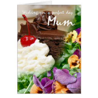Birthday card for Mum with cake and flowers