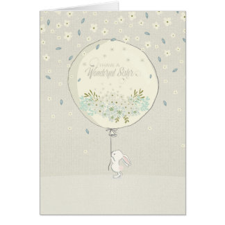 Birthday Card for Sister - Cute Bunny and Balloon