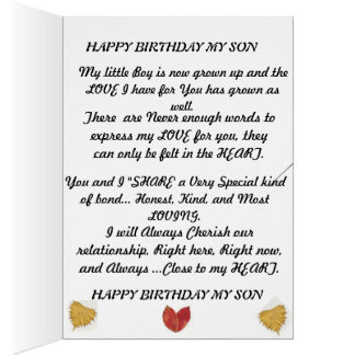 Birthday card for that special Son
