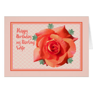 Birthday Card for Wife with Orange Rose