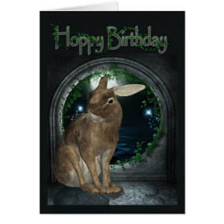 Birthday Card - Hoppy Birthday With Rabbit