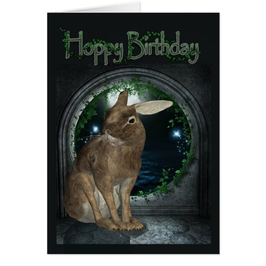 Birthday Card - Hoppy Birthday With Rabbit