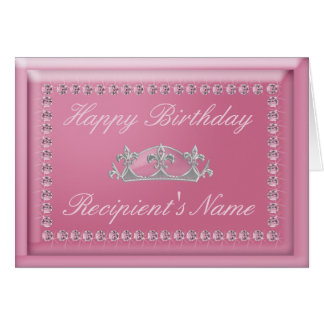 Birthday Card in Pink Diamonds and Sparkling Crown