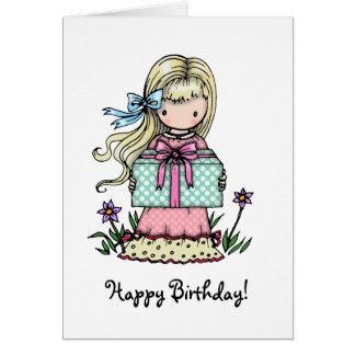 Birthday Card Little Girl Holding Present