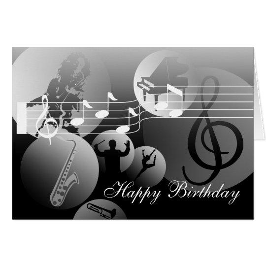Birthday Card love Music Grey