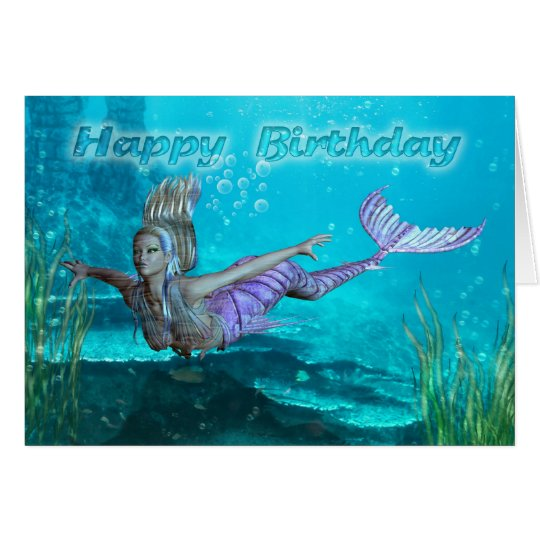 Birthday Card - Mermaid - Underwater Scenery