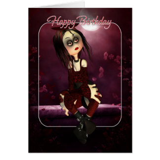 Birthday Card - Moonies Rag Doll Goth - Gothic