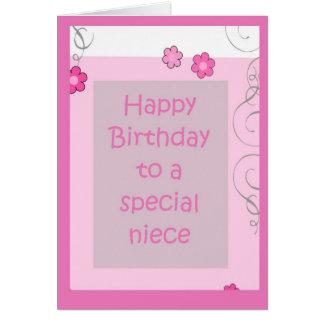 Birthday Card - Niece Pink Daisy