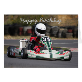 Birthday card of go karting kart race