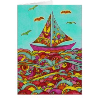 Birthday Card - Pink and Green Sailboat