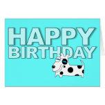 Birthday Card Polka Dot Dog Blue