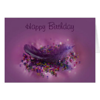 Birthday Card - Purple Fairys Feather