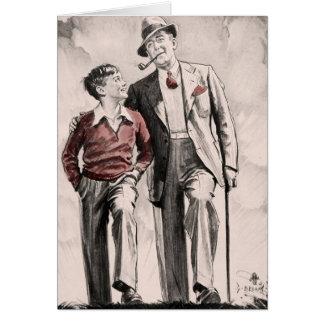 Birthday Card Son Father Retro Vintage 1930's Boy