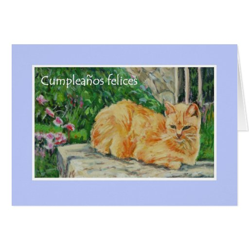 Birthday Card, Spanish Greeting, Ginger Cat
