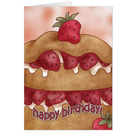 Birthday Card - Strawberry Cake
