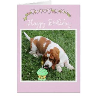 Birthday Card w/Basset Hound, Cupcakes, & Hearts