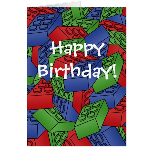 Birthday Card with a Pile of Building Blocks