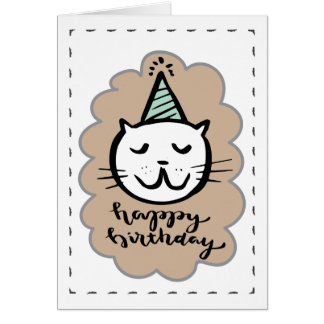 Birthday Card with Cat and hat