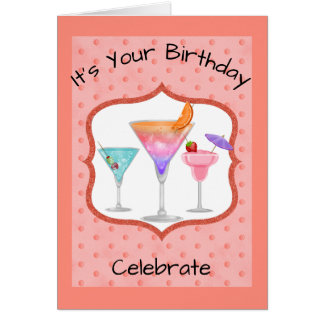 Birthday Card With Cocktails