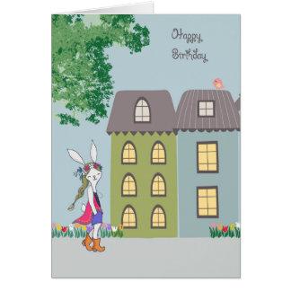 Birthday Card with Cute Bohemian Bunny
