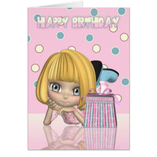 Birthday Card With Cute Little Girl And Gift