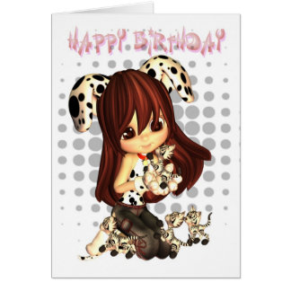Birthday Card with cute little girl and kittens
